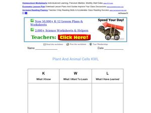 Plant and Animal Cells KWL Graphic Organizer Worksheet