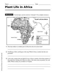 Plant Life in Africa Worksheet