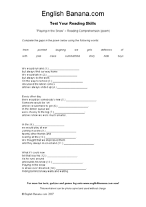 Playing In The Snow: Reading Comprehension Poem Worksheet