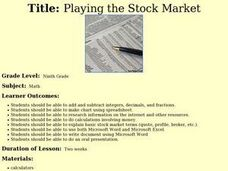 Playing the Stock Market Lesson Plan