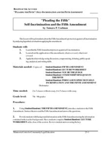 """Pleading the Fifth"" Self-Incrimination and the Fifth Amendment Lesson Plan"
