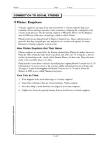 Plinian Eruptions Worksheet