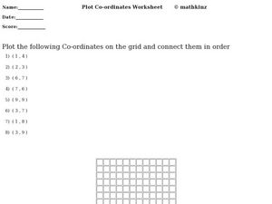Plot Coordinates Worksheet