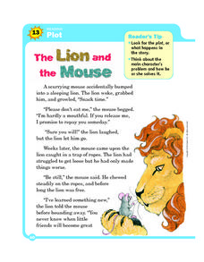 Printables The Lion And The Mouse Worksheets plot the lion and mouse 3rd 5th grade worksheet lesson planet worksheet