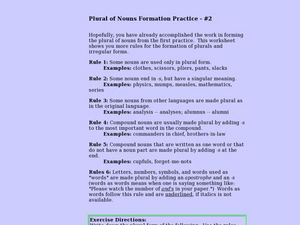 Plural of Nouns Formation Practice Lesson Plan