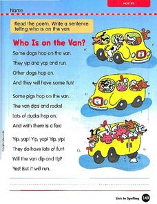 Poem: Who Is on the Van? Worksheet
