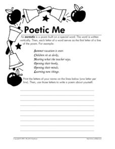 Poetic Me Worksheet