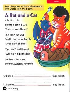 Poetry: A Bat and a Cat Worksheet