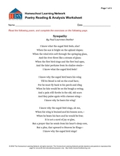 Printables Poetry Analysis Worksheet poetry reading and analysis worksheet 7th 9th grade worksheet
