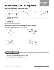 Points, Lines, and Line Segments - Homework 16.1 Worksheet