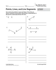 Points, Lines and Segments Worksheet