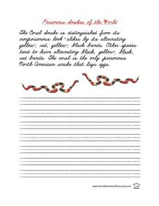 Poisonous Snakes of the World Penmanship Worksheet Lesson Plan