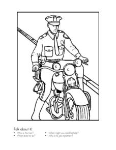Policeman Coloring Sheet Worksheet