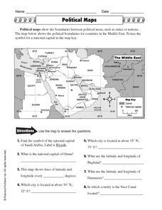 political maps 5th 6th grade worksheet lesson planet. Black Bedroom Furniture Sets. Home Design Ideas