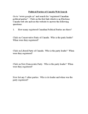 Printables Political Parties Worksheet political parties of canada web search 9th 12th grade worksheet worksheet