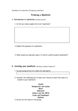 Political Party Manifesto Worksheet