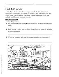 Pollution of Air Worksheet