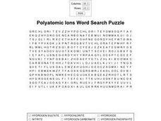 Polyatomic Ions Word Search Worksheet