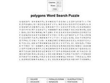 Polygons Word Search Puzzle Worksheet