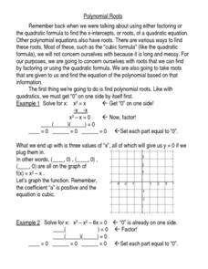 Polynomial Roots Worksheet