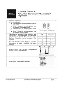 Population Growth With Calcumites Lesson Plan
