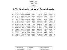 POS 150 Chapter 1-6 Word Search Worksheet