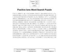 Positive Ions Word Search Puzzle Worksheet