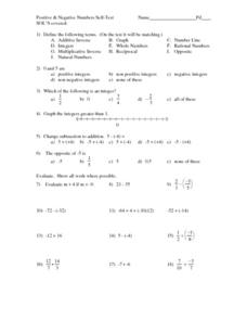 Positive & Negative Numbers Worksheet
