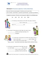 Possessive Adjectives: Family Relationships Worksheet