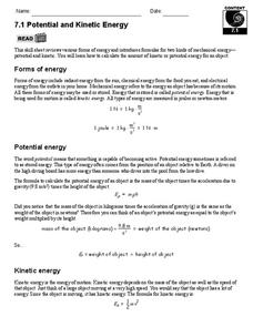Potential and Kinetic Energy 9th - 12th Grade Worksheet | Lesson ...