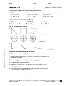 Practice 1-1: Patterns and Inductive Reasoning Worksheet