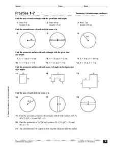 Perimeter Circumference And Area Worksheet