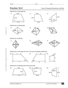 Practice 10-2: Areas of Trapezoids, Rhombuses, and Kites Worksheet