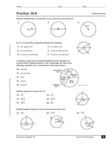 Practice 10-6: Circles and Arcs Worksheet