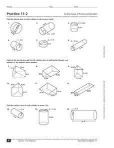 Worksheets Surface Area Of Cylinder Worksheet practice 11 2 surface areas of prisms and cylinders 7th 12th in this area worksheet
