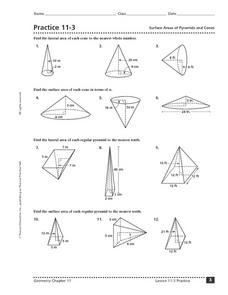 Practice 11-3: Surface Area of Pyramids and Cones 10th - 12th Grade ...