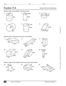 Practice 11-4 Volumes of Prisms and Cylinders Worksheet