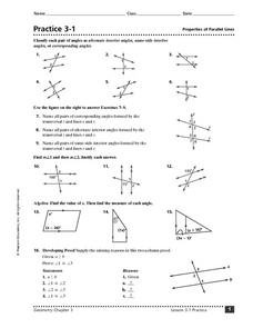 Practice 3-1: Properties of Parallel Lines Worksheet