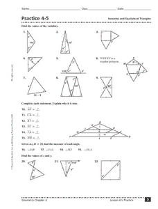 Practice 4-5:   Isosceles and Equilateral Triangles Worksheet