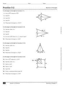 Practice 5-2 Bisectors in Triangles Worksheet
