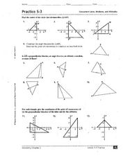 Practice 5-3: Concurrent Lines, Medians, and Altitudes Worksheet