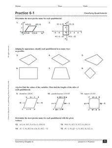 practice 6 1 classifying quadrilaterals 9th 11th grade worksheet lesson planet. Black Bedroom Furniture Sets. Home Design Ideas