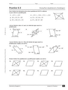 Practice 6-3 Proving That a Quadrilateral is a Parallelogram Worksheet
