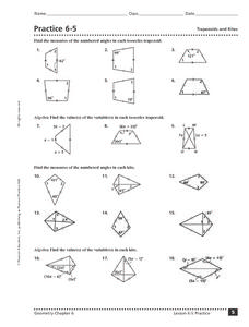 Practice 6-5: Trapezoids and Kites Worksheet