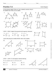Practice 7-2: Similar Polygons Worksheet