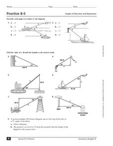 Practice 8-5 Angles of Elevation and Depression Worksheet