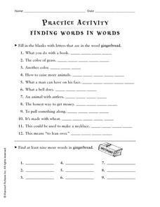 Practice Activity: Finding Words In Words Worksheet