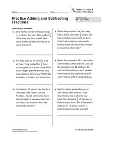 Practice Adding and Subtracting Fractions Worksheet