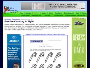 Practice Counting to Eight Worksheet