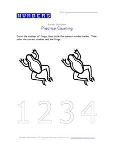 Practice Counting: Two Frogs Worksheet